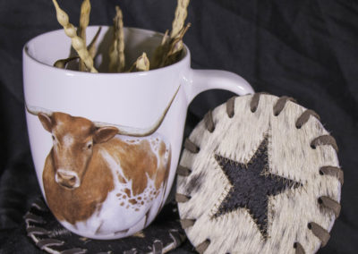 Longhorn mug & cowhide coasters (sold separately)