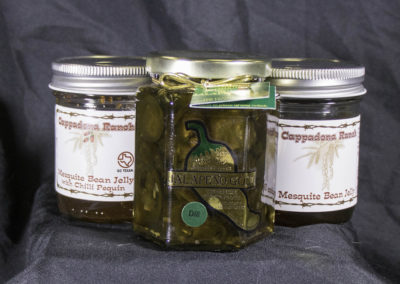 Candied jalapeño slices & Cappadona Ranch mesquite bean jelly (sold separately)
