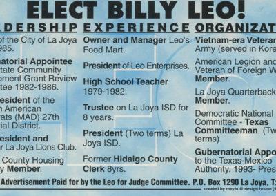"Pushcard for William ""Billy"" Leo"
